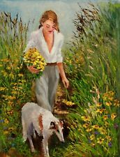 SOLD Girl Woman FIGURE DOG GARDEN FLOWERS ORIGINAL OIL PAINTING Yary Dluhos