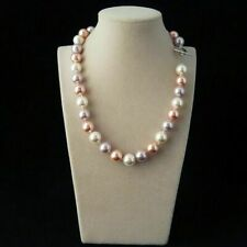 Natural AAA+ 8mm White Pink Purple South Sea Shell Pearl Fashion Necklace 18''