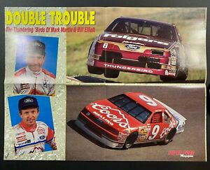 NASCAR FORD RACING MARK MARTIN BILL ELLIOT THUNDERBIRD FOLD OUT POSTER RACE CAR