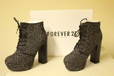 New FOREVER 21 Black Weave Style Lace Up Block Heel Ankle Boots Shoes Boxed UK 7