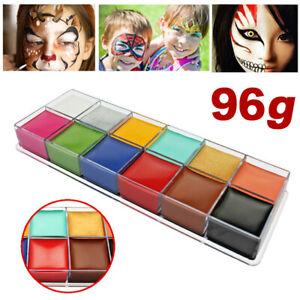 Face & Body Paint Professional Palettes Set 12 Colours Oil Stage Make Up Kit