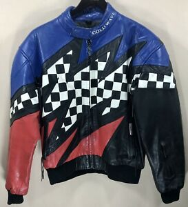 Cold Wave Leather Snowmobile Jacket w Liner 3M Scotchlite