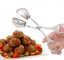 Stainless Steel Non-Stick Maker Cookie Dough Meatball Scoop Squeeze Silver