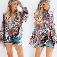 Womens V Neck Boho Long Sleeve Printed Tops Ladies Summer Loose Blouse T-Shirts