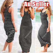 Cotton Blend Striped Maxi Dresses for Women