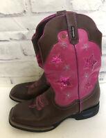 Cinch Girls Light Up Square Toe Western Cowboy Boots Sz 3M Pink Brown KWK305