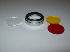 VINTAGE 25MM PUSH ON FILTER WITH RED YELLOW AND CLOSE-UP GLASS FILTERS