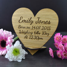 Wooden Personalised Heart Keepsake Plaque for Birth of New Baby Newborn