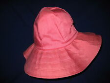 VINTAGE LADIES 1970s MOD CORAL PINK COTTON BUCKET HAT-LINED-UNION MADE USA-SMALL