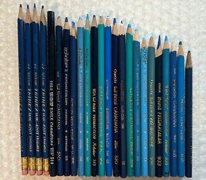 24 Prismacolor Colored Pencil Blue Lot Berol Canadiana Dixon Steadtler Mixed Set