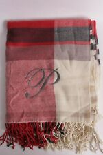"New Pottery Barn McKinley Plaid Throw, 50 X 60"", red ivory, P monogram"