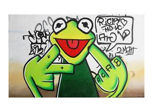 happy frog glasses rainbow Street Art Print  Painting 70cm x 55cm canvas