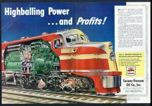 1946 streamliner train locomotive detailed engine diagram Socony-Vacuum print ad