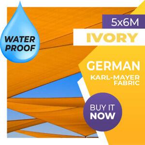 WATERPROOF SHADE SAIL RECTANGLE IVORY 5m x 6m AWNING 5x6 6x5 5x6m 6x5m 5 x 6