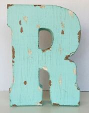 """Letter """"R"""" Wall or Desk Decor Metal Teal Colored Distressed"""