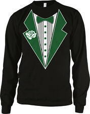 Clover Tuxedo Bowtie Formal Funny Casual St Patricks Day Long Sleeve Thermal