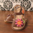 Brown w Orange Flower Toddler Girl Squeaky Sandals Shoes, Sizes 3 4 5 6 7 8 9