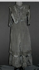 EXCEPTIONAL FRENCH VICTORIAN-EDWARDIAN LONG BLACK SILK AND LACE DRESS SIZE 6