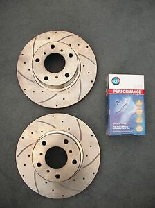 Drilled & Slotted Rear Disc Rotors + Brake Pads for Holden Commodore VT VU VX VY