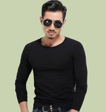 New Mens Slim Fit Milk Silk Long Sleeve Solid Color Blouse Casual T-Shirt Top