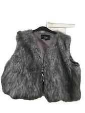 Faux Fur Short Gilet 24..grey/brown Mix Vgc