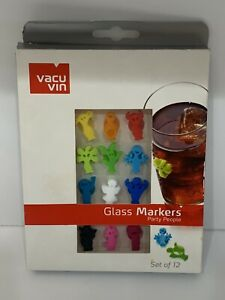 Vacu Vin Party People Wine Glass & Drink Markers / Charms - Set of 12