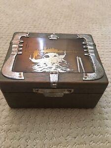 Vintage/Antique Sandalwood Box w Metal on top w Picture of Sampan Boat 1930's