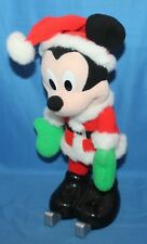 Nice Disney Mickey Mouse Santa On Skates Musical Stuffed Animal Figure