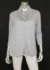 SWEET PEA STACY FRATI NEW Gray Ribbed Knit Cowl Neck A-Line Stretch Blouse sz S