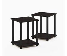 New in Box Espresso/Black Simplistic Furinno End Table Set of Two