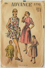 Advance 5792 Vintage Misses Beach Coats Sewing Pattern Sz 12 Bust 30