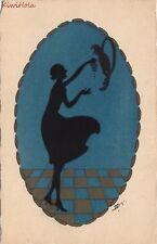 Postcard Art Black Silhouette Woman Feeding Parrot