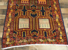 "3'6""x9'7"" Authentic Geometric Lions Antique Oriental Handmade Wool rug runner"