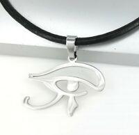 Argento Acciaio Egiziano Egizio Egitto Occhio Pendente Collana in Pelle Nero