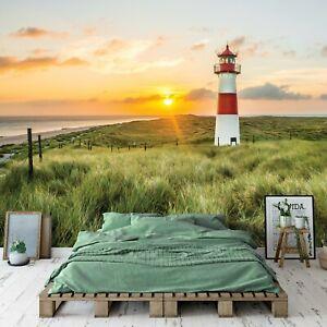 Vlies Fototapete Leuchtturm Landschaft Sonnenuntergang Gras Strand Natur Nordsee