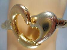 "HEAVY 22.9G WIDE SIDRA BREV ITALY 18K YELLOW WHITE GOLD HEART BANGLE BRACELET 7"""