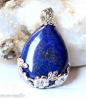 Blue Lapis Lazuli Natural Gemstone 925 Silver Plated Jewelry Pendant