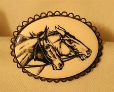 Black Pair of Horses Brooch Pin Handsome Brasstone Picot Rimmed Etched Cream &
