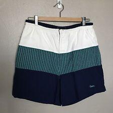 Vintage John Weitz Navy White Striped Men's Board Short Shorts Cotton Blend M