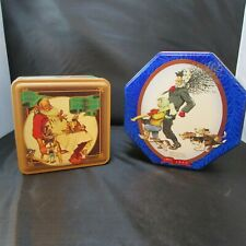 2 Vintage Norman Rockwell Snickers Candy Tins Christmas Winter Themed Mars Santa