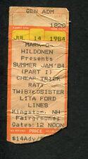 1984 Cheap Trick Ratt Twisted Sister Lita Ford Concert Ticket Stub Kingston NH