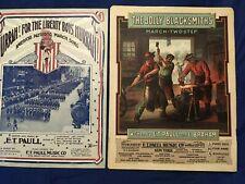 2 LRG.  E T Paull sheet music Jolly Blacksmiths 1905; & Hurrah Liberty Boys 1918