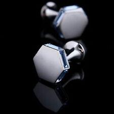 Hexagon Blue Baguette 14k White Gold Cuff Link Men Jewelry Matte Special