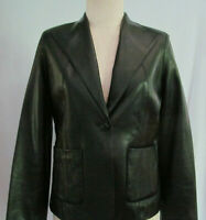 Cole Haan Womens Black Lambskin Leather Size 10 One Button Jacket Blazer Lined