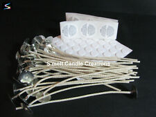CANDLE WICKS 15cm Stickums Warning Labels 20|30|50|100 Soy Palm Wax  Sample Pack