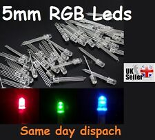 5 X PC 5mm 4 PIN RGB Tri-color comune CATODO LED Luce Rosso Verde Blu UK freep