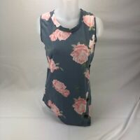 Tank Top Womens Sleeveless Gray Floral Small