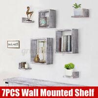7 Pcs/ Set Wall Mounted Storage Shelves Bookshelf Display Rack Home Office Decor