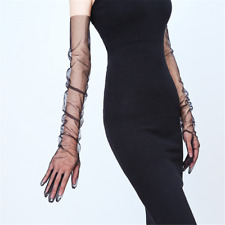 Tulle Long Gloves Stretchy Lace Nylon Black Semi Sheers Flexible Wedding Gloves