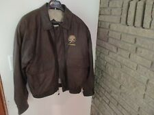 North American Hunting Club Brown Leather Bomber Jacket/Coat by Burks Bay Men XL